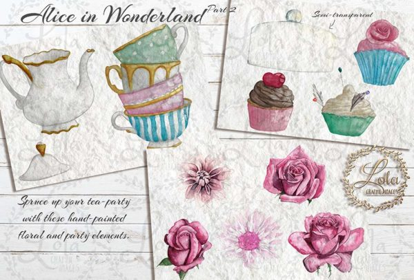 hand painted tea party clipart