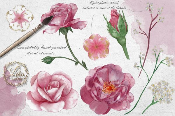 hand painted roses clipart