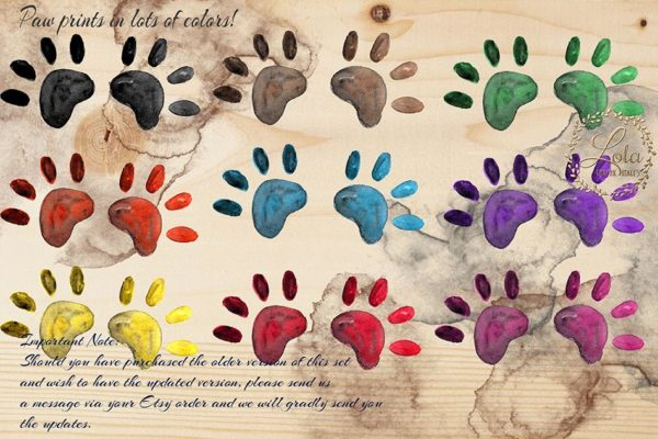 cute dog paws black brown green red blue orange purple pink yellow paint mess clipart