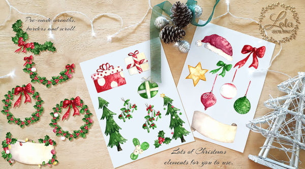 watercolor tree christmas present bauble hat star banner clipart