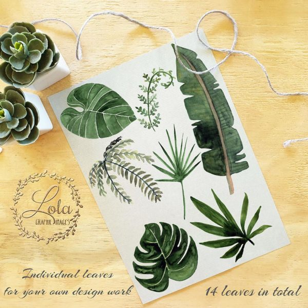 hand painted watercolor foliage