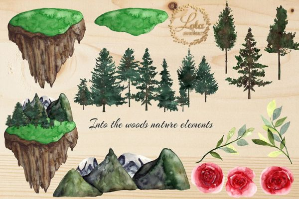 hand painted forest clipart