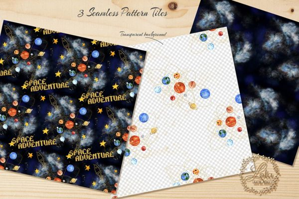 solar system space planets seamless pattern designs