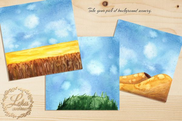 hand painted scenic clipart
