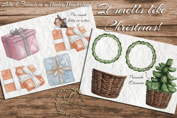hand painted christmas clipart