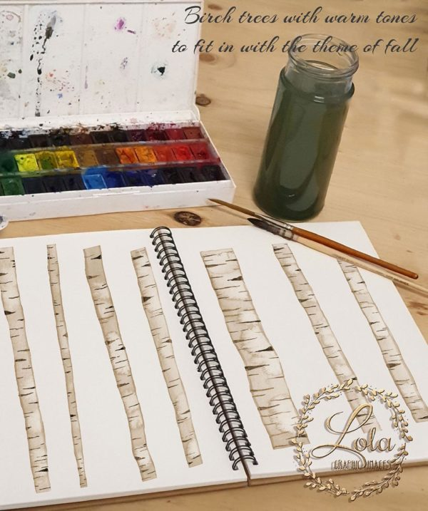 birch tree hand painted clipart