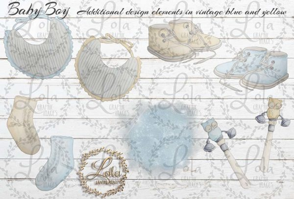 vintage baby accessories clipart
