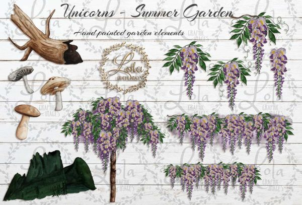 hand painted wisteria