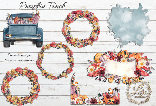 fall wreath and truck clipart