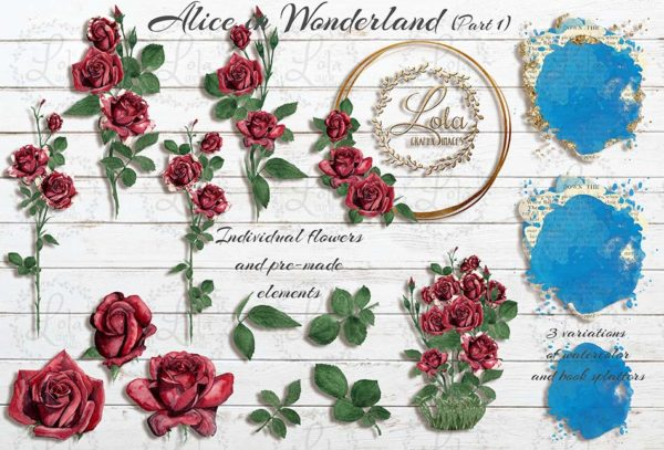 hand painted red rose clipart