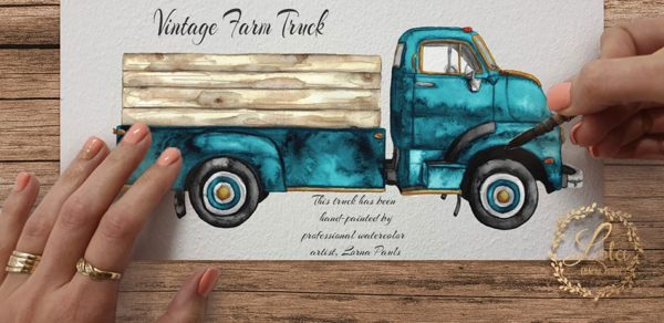 hand painted vintage truck