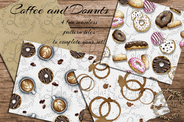 donut and coffee seamless pattern