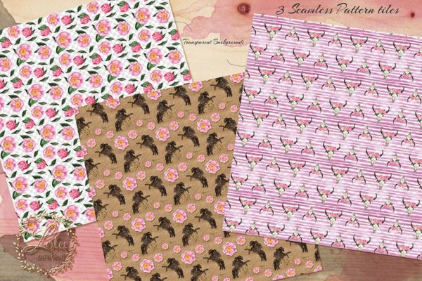 cowgirl seamless patterns