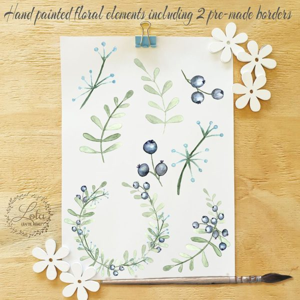 hand painted floral clipart
