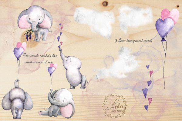 pink baby elephant clipart