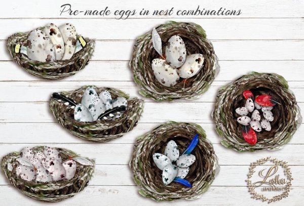 hand painted eggs in nest