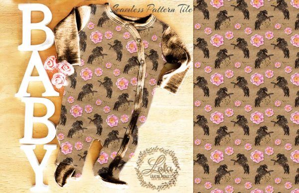 rustic cowgirl surface pattern design
