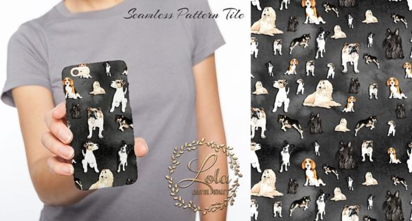cute dogs phone cover design sublimation pattern seamless black cute clipart