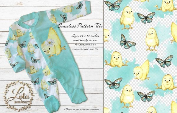 watercolor cute baby chick blue butterfly seamless pattern