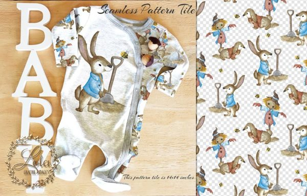 rabbit in cout farm scarecrow baby pattern art