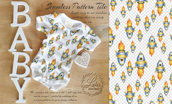 hand painted rocket seamless pattern baby