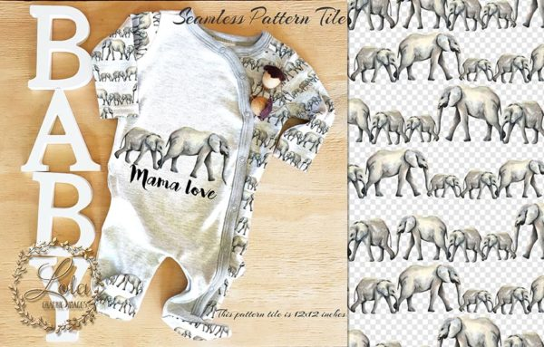 mom and baby elephant graphics