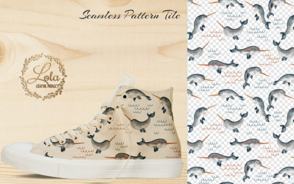 narwhal seamless pattern