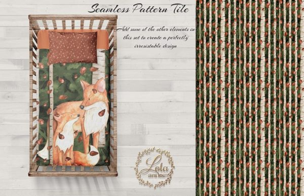 Sublimation design woodland fox mom and baby