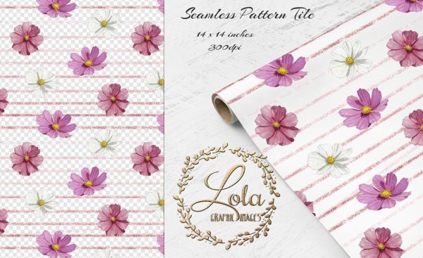 watercolor seamless gift paper clipart pattern