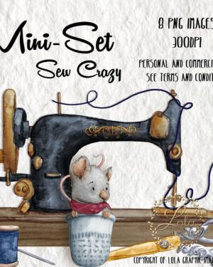 cute hand painted sewing clipart