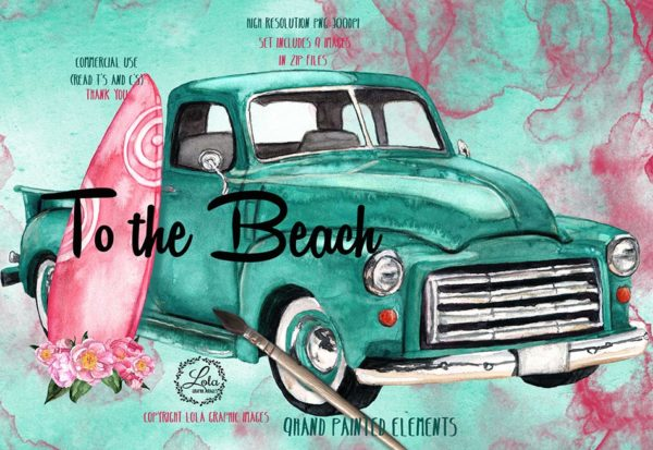 hand painted turquoise truck png