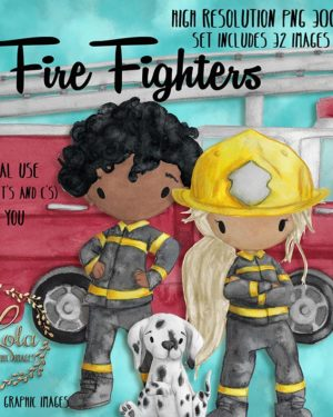 hand painted firefighter clipart, Fire Fighters Clipart