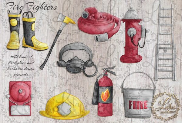 watercolor firefighter png images