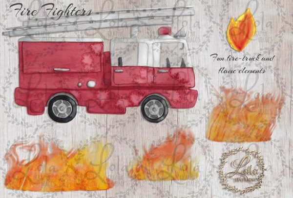 hand painted fire truck