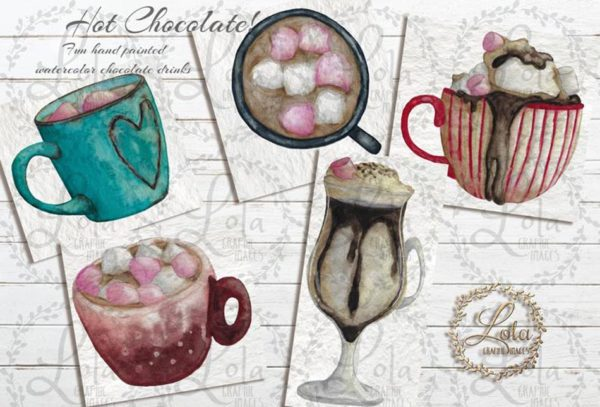 hand painted hot chocolate png