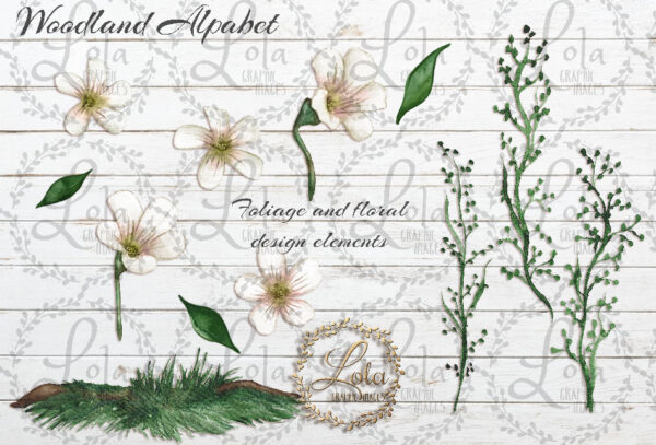 hand painted flowers and foliage