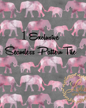 Exclusive Seamless Pattern Pink Elephants