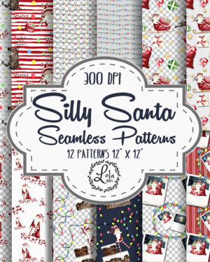 Watercolor Silly Santa Seamless Pattern | Father Christmas Graphics | Hand Painted Reindeer | PNG Images
